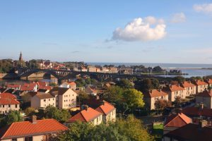 The northern English town of Berwick upon Tweed, overlooking the North Sea in Northumberland.